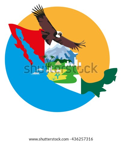 Vector image of a bird condor on the background of  the map  and  elements of the Mexican landscape - stock vector