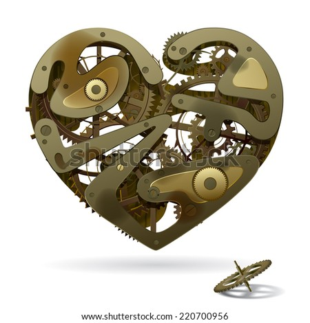 Vector image of a broken rusty clockwork heart on the white background with a pinion. Unrequited love symbol - stock vector
