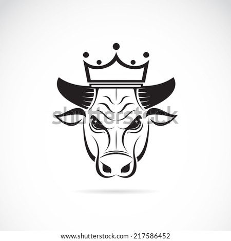 Vector image of a bull head wearing a crown on white background. - stock vector