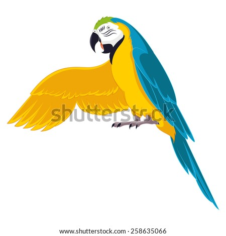 Vector image of a cartoon greeting parrot - stock vector