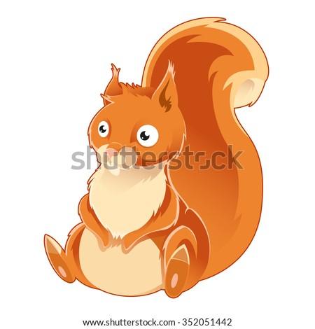 Vector image of a cartoon orange squirrel - stock vector