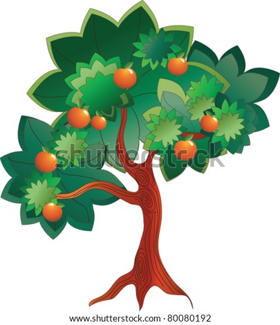 vector image of a cartoon tree with orange fruits - stock vector
