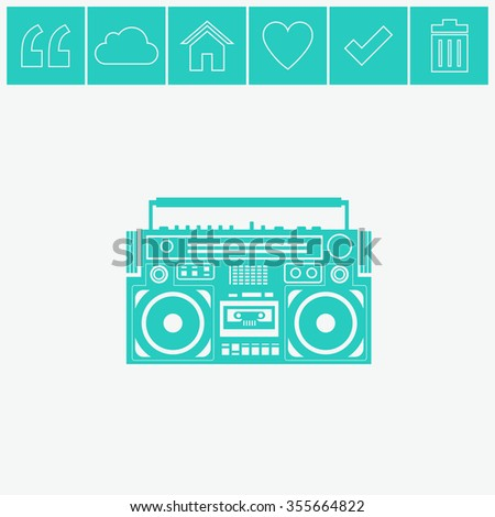 Vector image of a classic boombox. - stock vector