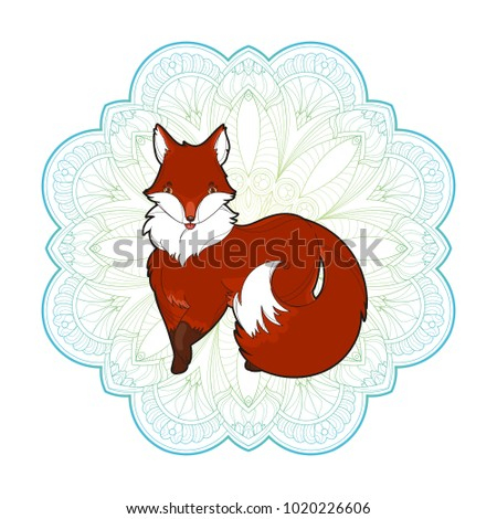 Vector image of a cute fox design isolated on a white background. Wild furry animal on mandala background