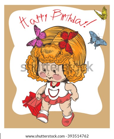 Vector image of a cute little girl who 