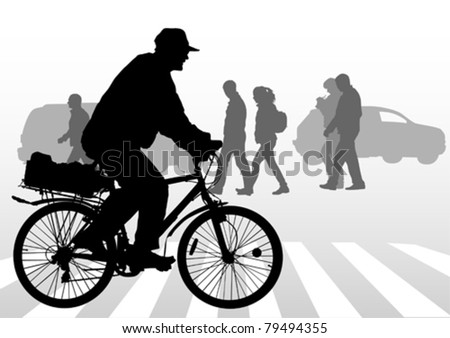 Vector image of a cyclist in city