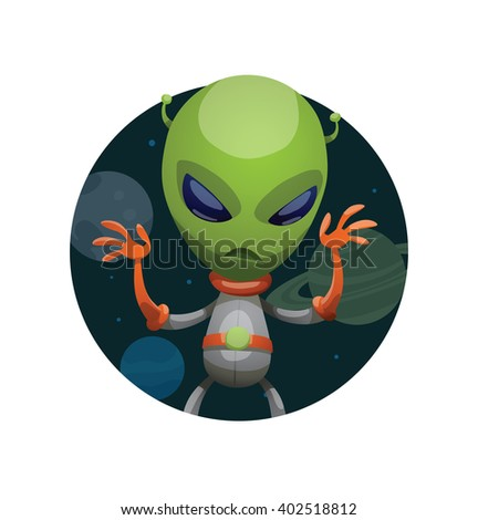 Vector image of a dark space round frame with planets, with cartoon image of funny green alien in gray-orange spacesuit frightening someone in the center on a white background. Vector illustration. - stock vector