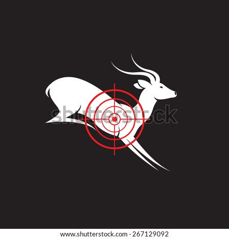 Vector image of a deer target on a black background. - stock vector