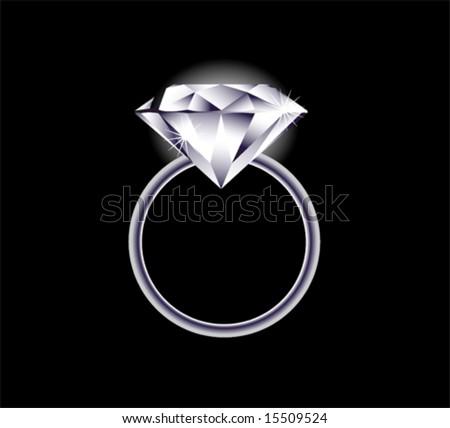 Vector image of a diamond ring - stock vector