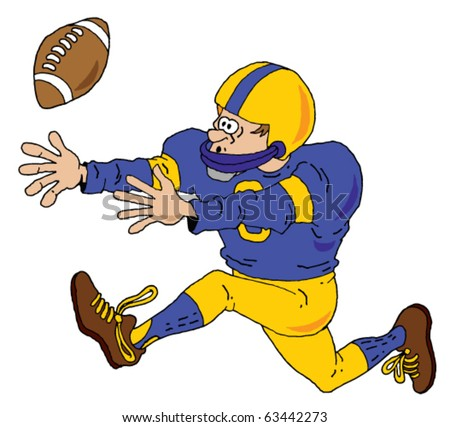 Vector image of a Football Player trying to make a catch.