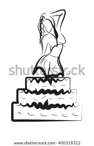 Vector image of a girl dancer strip of cake. Flat line drawing. Bright background. For design, banners, presentations, advertising. - stock vector