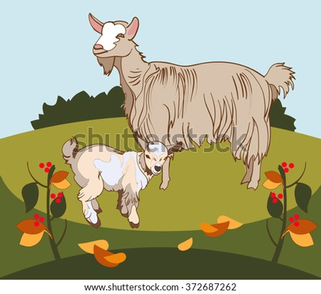 Vector image of a goat and her kid grazing 