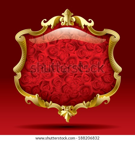 Vector image of a gold isolated baroque frame with red roses against a dark red background - stock vector