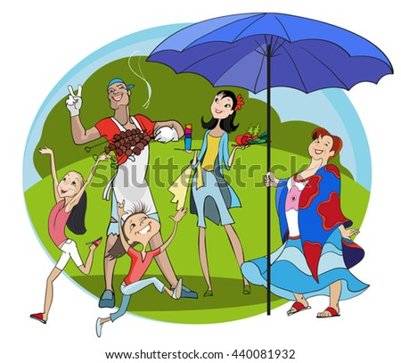 vector image of a happy family on a picnic, outdoors colorful