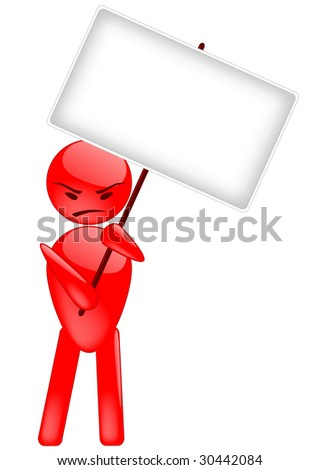 Vector image of a human with empty banner