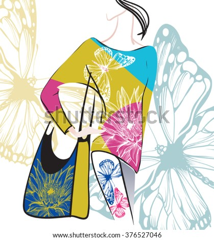 vector image of a model in the clothes decorated with floral prints