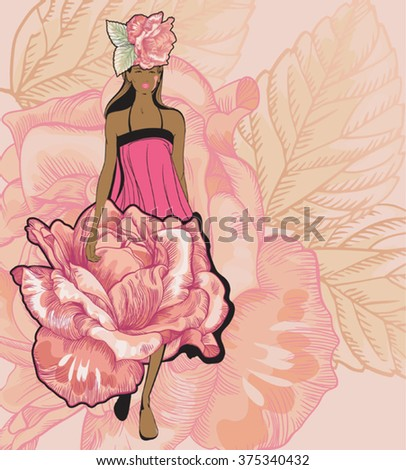 vector image of a model walking down the 