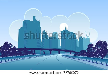 Vector image of a modern city, designed in blue colors - stock vector