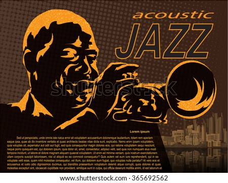 Vector image of a musician playing trumpet on the background of the cityscape