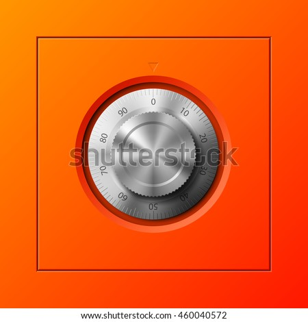 Vector Image of a Orange safe. Armored box background. The door of a bank vault with a combination lock. Reliable Data Protection. Longterm savings. Deposit box icon.Protection of personal information