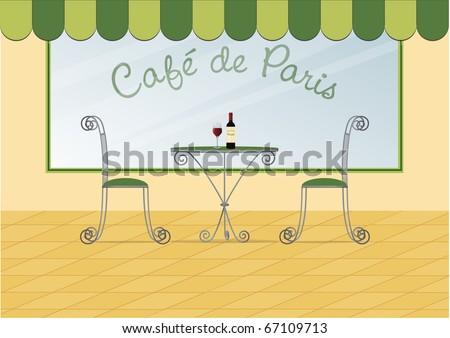 Vector image of a Parisian street cafe. - stock vector