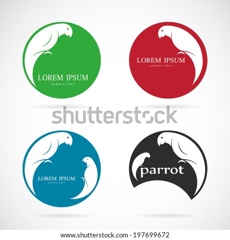 Vector image of a parrot design on white background. - stock vector