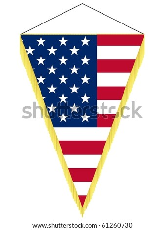 vector image of a pennant with the national flag of USA
