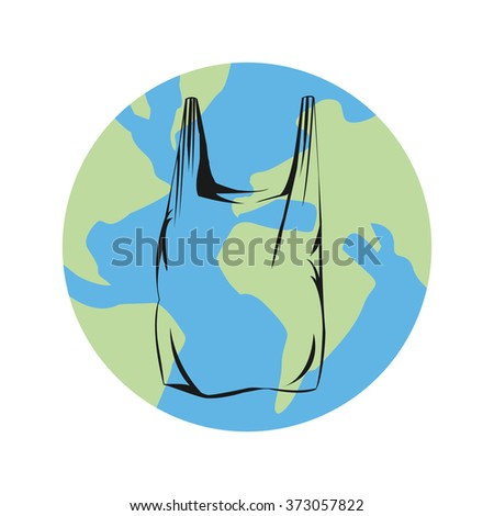 Vector image of a plastic bag on globe