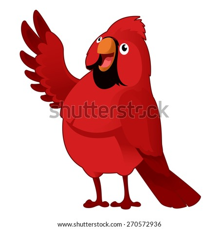 Vector image of a red cartoon cardinal - stock vector