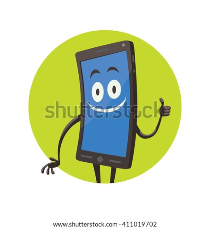 Vector image of a round green frame with cartoon image of a black smartphone with blue screen, with arms, legs and contented expression on face in the center on a white background. Positive character.