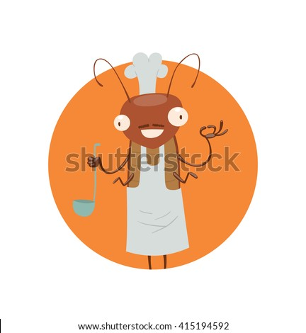 Vector image of a round orange frame with cartoon image of a funny brown cockroach with antennae and six legs in white chef's hat in the center on a white background. Anthropomorphic cartoon cockroach - stock vector