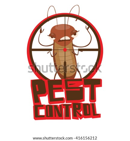 """Vector image of a round red-black frame like under the gun with cartoon image of a funny brown cockroach frightening someone in the center on white background. Inscription """"Pest control"""". Vector image - stock vector"""