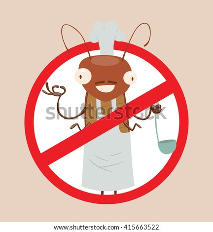 Vector image of a round red crossed-out sign with cartoon image of funny brown cockroach in a white chef's hat in the center on a gray background. Anthropomorphic cartoon cockroach. Pest control.  - stock vector