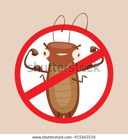 Vector image of a round red crossed-out sign with cartoon image of funny brown cockroach showing the biceps in the center on a gray background. Anthropomorphic cartoon cockroach. Pest control.  - stock vector