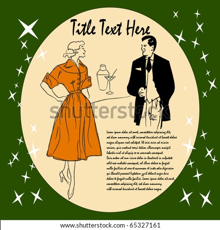 Vector Image of a 1950's Couple Enjoying drinks with copyspace - stock vector