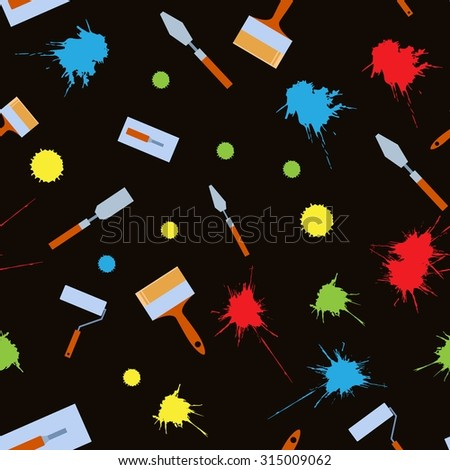 Vector image of a seamless pattern with diffirent tools for home work - stock vector