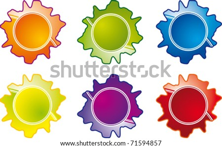 vector image of a set of sticker labels - stock vector