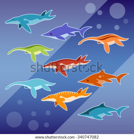 Vector image of a Set of water jurassic reptiles - stock vector