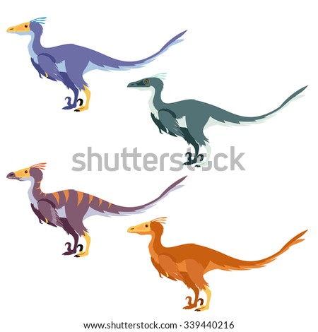 Vector image of a set with carnivore dinosaurs like raptors - stock vector