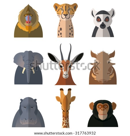 Vector image of a set with flat icons of african animals - stock vector