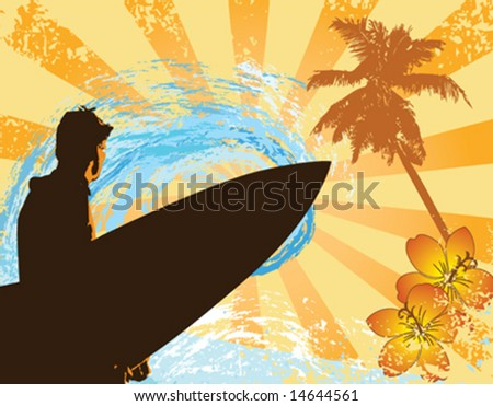 Vector image of a surfer on a grungy background with flowers and a palm tree - stock vector