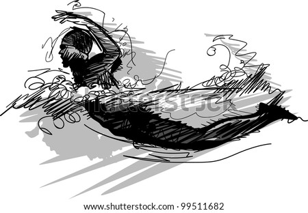 Vector Image of a Swimmer Swimming Sketch Silhouette