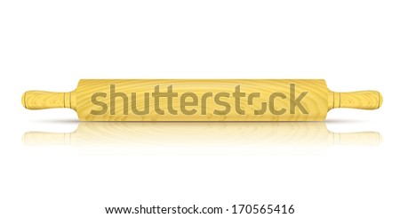 Vector Image of a traditional rolling pin with reflection - stock vector