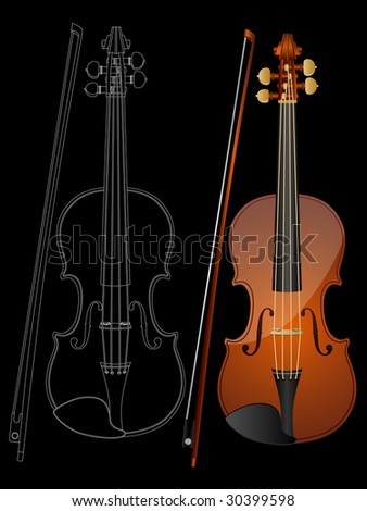 Vector image of a violin isolated on black background.
