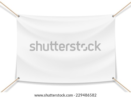 Vector image of a white banner with ropes - stock vector