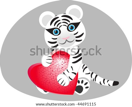 Vector image of a white tiger with a heart in his paws.