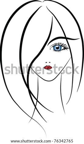 vector image of a woman's face with stylized details - stock vector