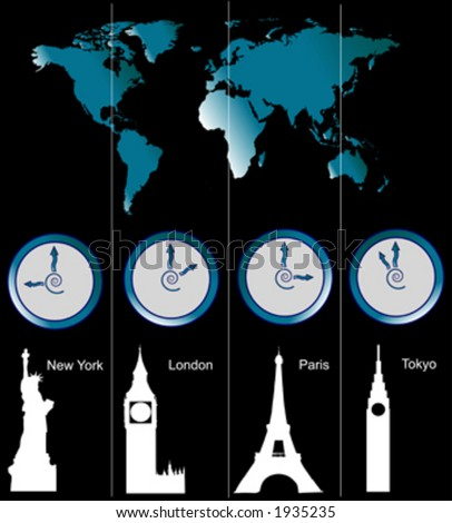 Vector image of a world map with clocks showing time of four cities (New York, London, Paris and Tokyo) and famous attractions in those cities - stock vector