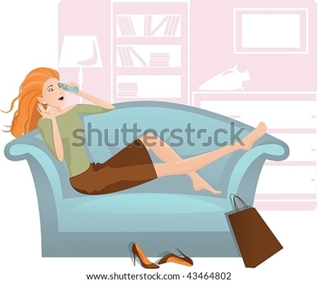 Vector image of a young girl, who is resting on the couch and talking on a mobile phone. - stock vector