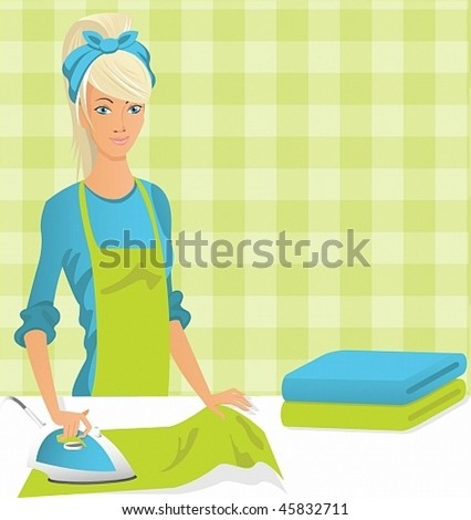 Vector image of a young housewife is ironing. - stock vector